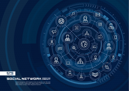 Abstract social network background. Digital connect system with integrated circles, glowing thin line icons. Virtual, augmented reality interface concept. Vector future infographic illustration