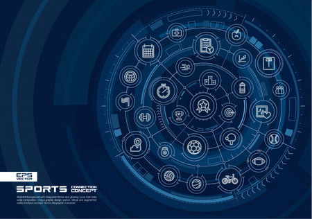 Abstract Sport and fitness background. Digital connect system with integrated circles, glowing thin line icons. Virtual, augmented reality interface concept. Vector future infographic illustration