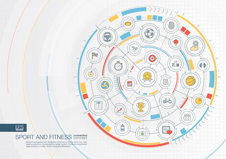 Deporte abstracto y fondo de la aptitud. Sistema de conexión digital con círculos integrados, iconos planos en color. Interfaz de diseño gráfico radial. Concepto de estilo de vida saludable. Ilustración vectorial infografía