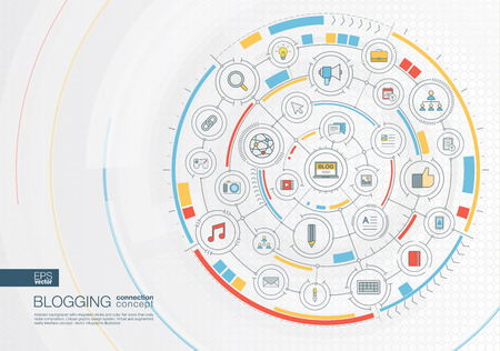 Abstract blogging background. Digital connect system with integrated circles, color flat icons. Interface design . Video content publish, follow, post writing concept. Vector infographic illustration Illustration