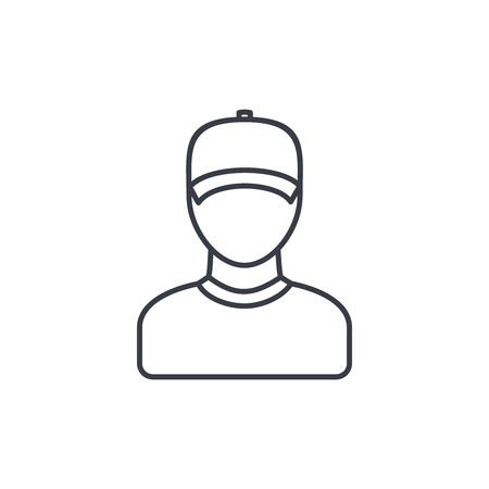 hombre flaco: Delivery man in cap, courier thin line icon. Linear vector illustration. Pictogram isolated on white background