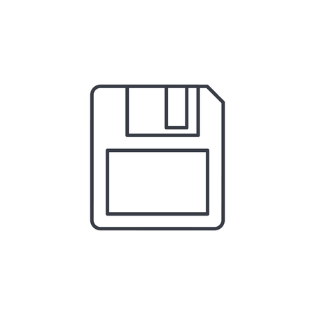 salvaging: save data, diskette thin line icon. Linear vector illustration. Pictogram isolated on white background