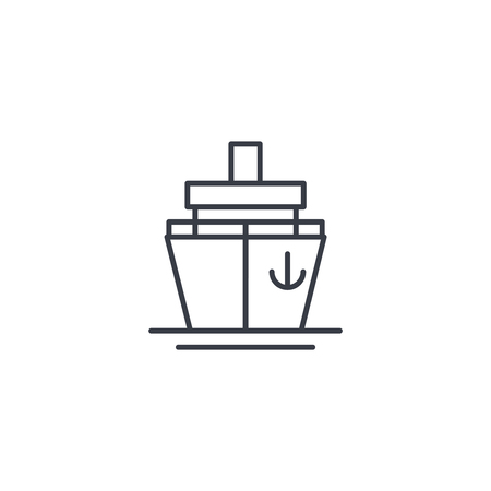 Yacht boat, cruise thin line icon. Linear vector illustration. Pictogram isolated on white background