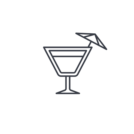 wine or cocktail glass icon thin line icon. Linear vector illustration. Pictogram isolated on white background Illustration