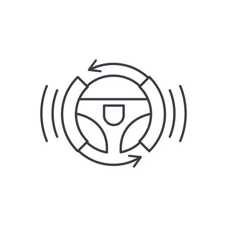 schoolbus: autonomous auto, autopilot, gyropilot, automatic pilot, smart car steering wheel thin line icon. Linear vector illustration. Pictogram isolated on white background