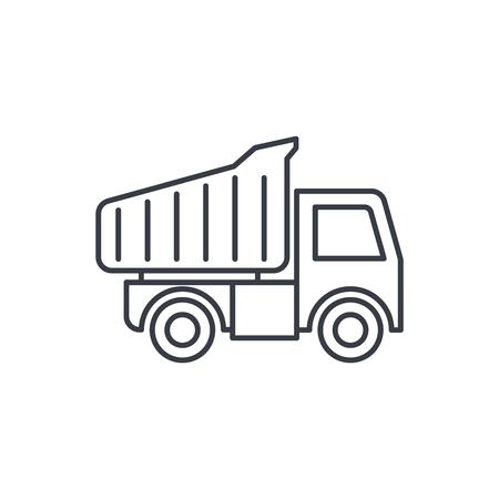 ダンプ トラックの細い線のアイコン。線形ベクトル イラスト。白い背景に分離されたピクトグラム