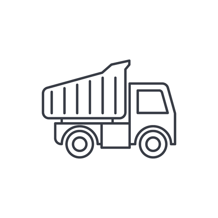 dump truck thin line icon. Linear vector illustration. Pictogram isolated on white background