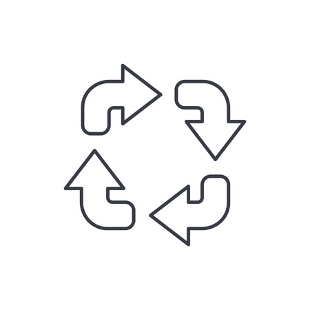 Refresh four arrows thin line icon. Linear vector illustration. Pictogram isolated on white background