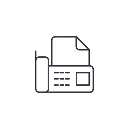事務所電話・ fax、デジタル携帯電話、細い線のドキュメント アイコン。線形ベクトル イラスト。白 backgroundfogmoney に分離されたピクトグラム  イラスト・ベクター素材