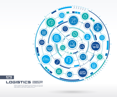 Abstract logistic and distribution background. Digital connect system with integrated circles, glowing line icons. Network system group, interface concept. Vector future infographic illustration Illustration