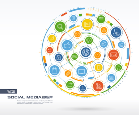 likes: Abstract Social Media background. Digital connect system with integrated circles, glowing thin line icons. Network system group, interface concept. Vector future infographic illustration