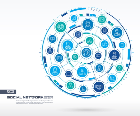 likes: Abstract social network background. Digital connect system with integrated circles, glowing thin line icons. Media system group, interface concept. Vector future infographic illustration