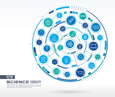 Abstract science technology background. Digital connect system with integrated circles, glowing thin line icons. Network system group, interface concept. Vector future infographic illustration Imagens - 87481602