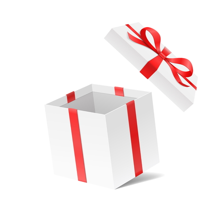 Empty open gift box with red color bow knot and ribbon isolated on white background. Happy birthday, Christmas, New Year, Wedding or Valentine Day package concept. Closeup Vector illustration 3d view 矢量图像