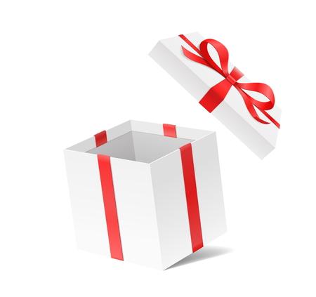 Lege open giftdoos met de knoop en het lint van de rode kleurenboog die op witte achtergrond wordt geïsoleerd. Gelukkige verjaardag, Kerstmis, Nieuwjaar, bruiloft of Valentijnsdag pakket concept. 3d illustratie van de close-up de Vectorillustratie