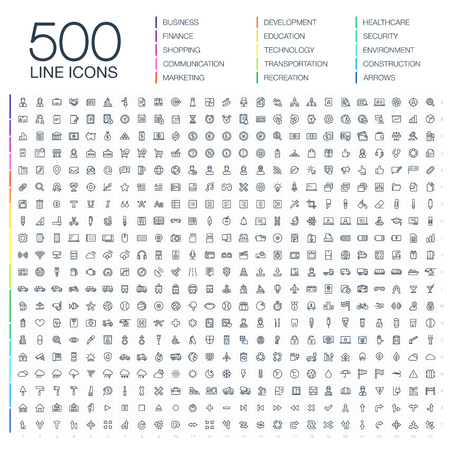 Illustration of 500 thin line business icons