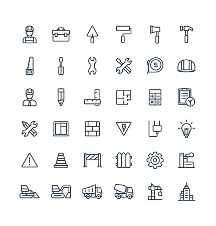 Thin line icons set graphic design elements Stock Illustratie