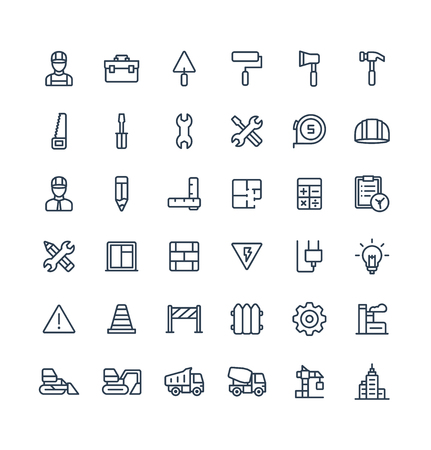 Thin line icons set graphic design elements Ilustração