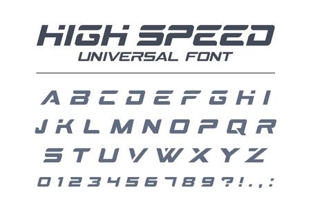 고속 범용 글꼴. 빠른 스포츠, 미래, 기술, 미래 알파벳입니다. 군사, 산업, 전기 자동차 경주 로고 디자인을위한 문자와 숫자. 현대적인 미니멀 한 벡터