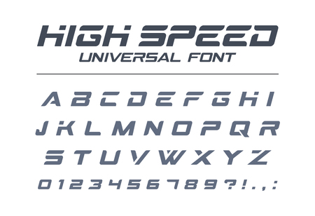 High speed universal font. Fast sport, futuristic, technology, future alphabet. Letters and numbers for military, industrial, electric car racing logo design. Modern minimalistic vector typeface