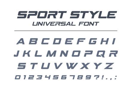스포츠 스타일 유니버설 글꼴. 빠른 속도, 미래, 기술, 미래 알파벳. 군사, 산업, 전기 자동차 경주 로고 디자인을위한 문자와 숫자. 현대적인 미니멀 한