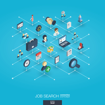Job search integrated 3d web icons. Digital network isometric interact concept. Connected graphic design dot and line system. Abstract we are hiring background professional team work. Vector Infograph