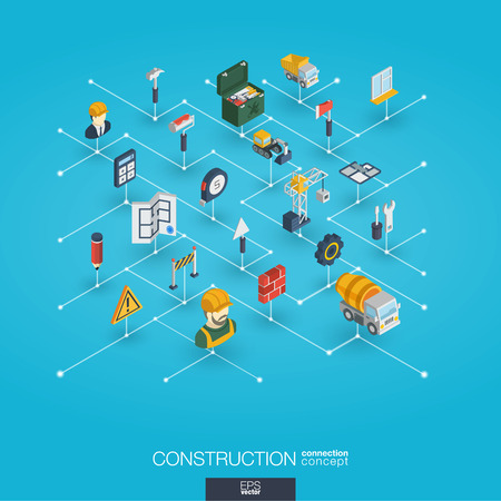 Construction integrated 3d web icons. Digital network isometric interact concept. Connected graphic design dot and line system. Abstract background for engineer, architecture, build. Vector Infograph