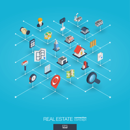 Real estate integrated 3d web icons. Digital network isometric interact concept. Connected graphic design dot and line system. Abstract background for apartment rent, property sale. Vector Infograph