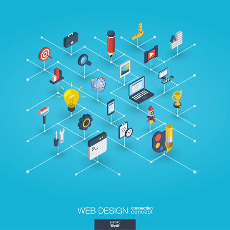 Web development integrated 3d icons. Digital network isometric interact concept. Connected graphic design dot and line system. Abstract background for seo, website, app design. Vector Infograph