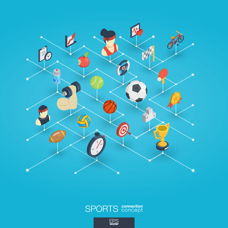 Sport integrated 3d web icons. Digital network isometric interact concept. Connected graphic design dot and line system. Abstract background for healthy, lifestyle, fitness and gym . Vector Infograph Illustration