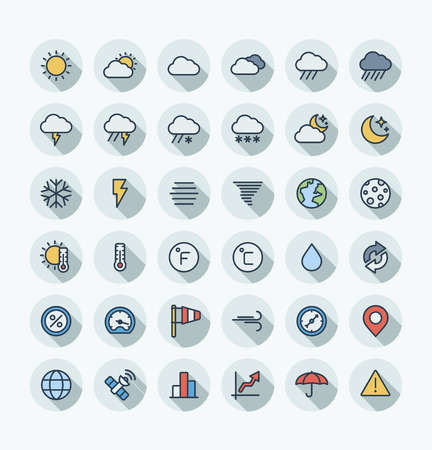 Illustration with weather and meteo outline symbols. Vector flat thin line icons set and graphic design elements. Sun, cloud, rain, snow, moon, thermometer, humidity, umbrella color pictogram