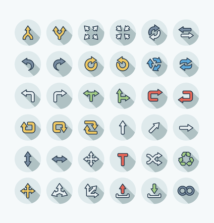 Vector flat thin line icons set and graphic design elements. Illustration with arrows, direction and move outline flat symbols. Turn left, merge, switch, undo, transfer, synchronizing color pictogram