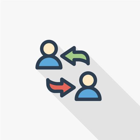 Delen, openbare communicatie, dunne lijn egale kleur pictogram. Stock Illustratie