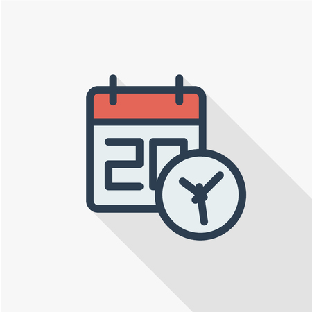 date and time, calendar and clock thin line flat color icon. Linear vector illustration. Pictogram isolated on white background. Colorful long shadow design. Illustration