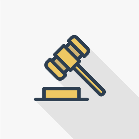 auction hammer, law and justice symbol, verdict thin line flat color icon. Linear vector illustration. Pictogram isolated on white background. Colorful long shadow design. Illustration