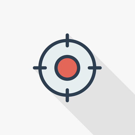 Aim, goal, target thin line flat color icon. Linear vector illustration. Pictogram isolated on white background. Colorful long shadow design.