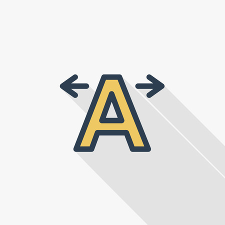 Text edit, kerning thin line flat color icon. Linear vector illustration. Pictogram isolated on white background.