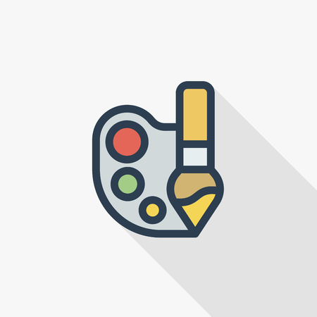 A palette and brush thin line flat color icon. Ilustração
