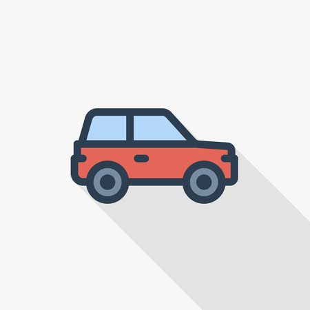 red car, hatchback thin line flat color icon. Linear vector illustration. Pictogram isolated on white background. Colorful long shadow design. Illustration
