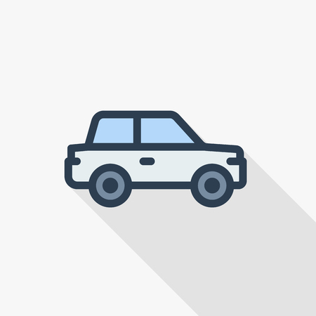 car, hatchback thin line flat color icon. Linear vector illustration. Pictogram isolated on white background. Colorful long shadow design. Illustration