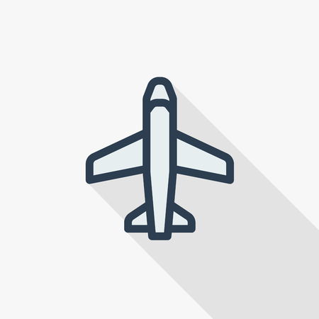 airplane,   travel thin line flat color icon. Linear vector illustration. Pictogram isolated on white background. Colorful long shadow design.