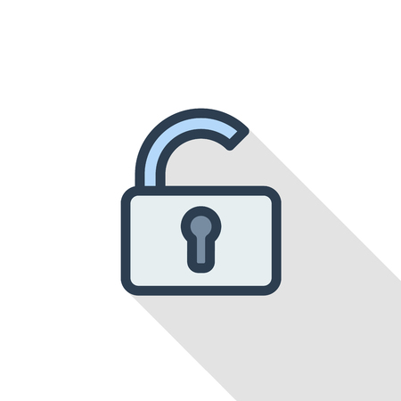 open lock, password, access thin line flat color icon. Linear vector illustration. Pictogram isolated on white background. Colorful long shadow design.