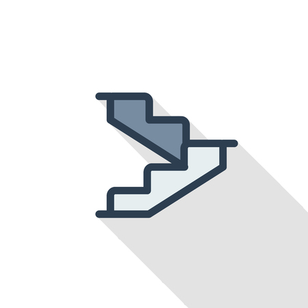 Stairs, upstairs, staircase thin line flat color icon. Linear vector illustration. Pictogram isolated on white background. Colorful long shadow design. 일러스트