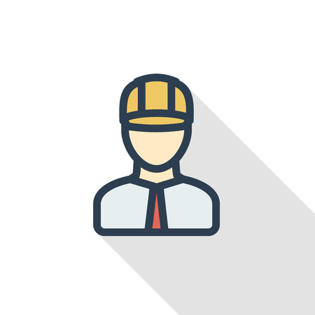 Engineer avatar. Architect in helmet thin line flat color icon. Linear vector illustration. Pictogram isolated on white background. Colorful long shadow design.