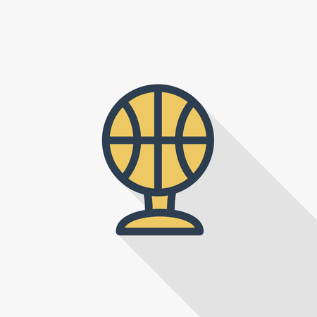 Sports cup, golden basketball ball thin line flat color icon. Linear vector illustration. Pictogram isolated on white background. Colorful long shadow design.