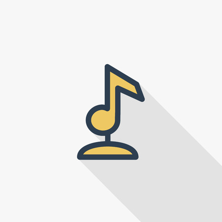 Music award golden musical note, best performer, composer winner. Victory thin line flat color icon. Linear vector illustration. Pictogram isolated on white background. Colorful long shadow design.