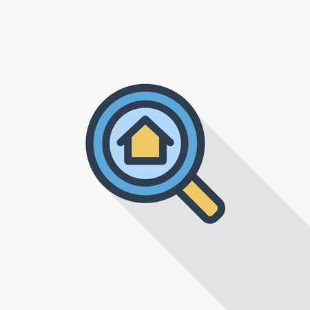 Search Real Estate Element, Magnifier, Search, Property And House thin line flat color icon. Linear vector illustration. Pictogram isolated on white background. Colorful long shadow design.