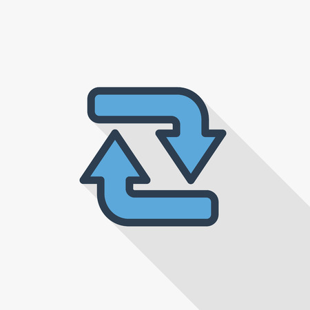 Refresh Arrows thin line flat color icon.
