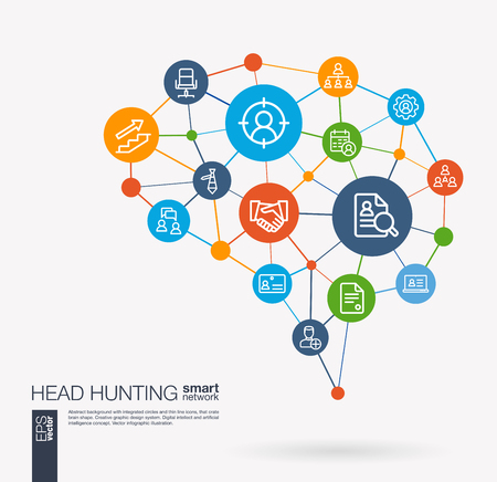 AI creative think system concept. Digital mesh smart brain idea. Futuristic interact neural network grid connect. Job search, head hunting, we are hiring, team work integrated business vector icons. 일러스트