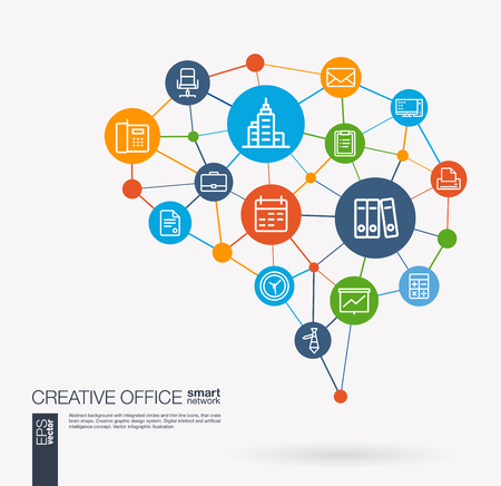 AI creative think system concept. Digital mesh smart brain idea. Futuristic interact neural network grid connect. Office work space, people, teamwork, workspace integrated business vector icons.